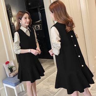 毛呢连衣裙套装2019新款韩版女装秋季港味小心机两件套超显瘦裙子