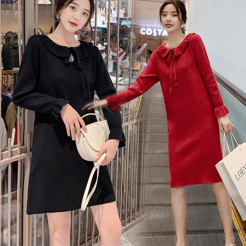 券后139.80元2019秋季韩版洋气娃娃领红色连衣裙
