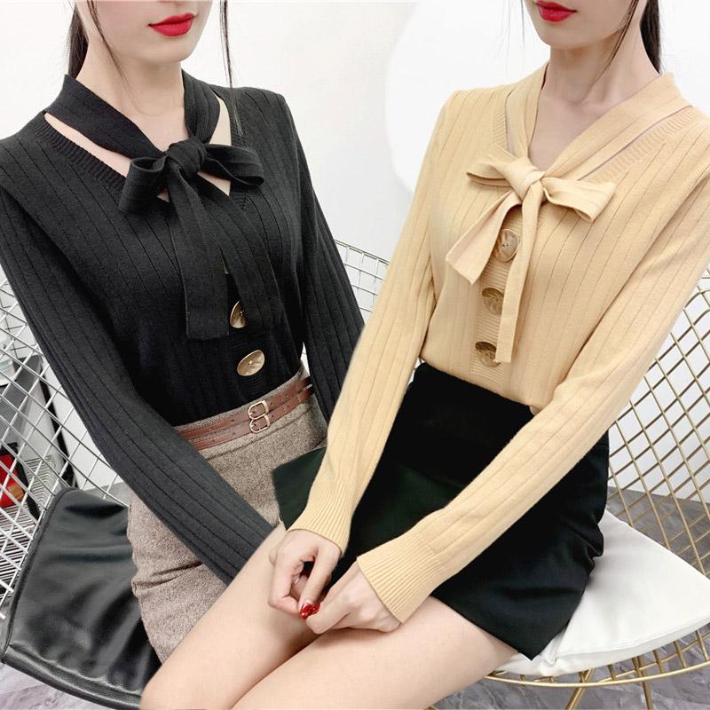 【时尚系带针织衫】秋季新款长袖V领针织毛衣套头打底修身上衣女(非品牌)
