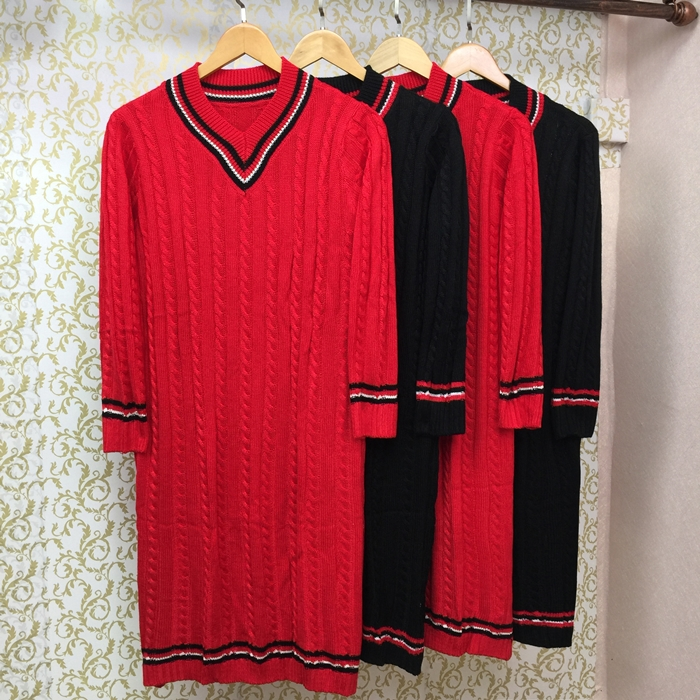 Autumn and winter net red new style, versatile, lazy wind, comfortable backing, single sweater, coarse knitting, medium length dress for women