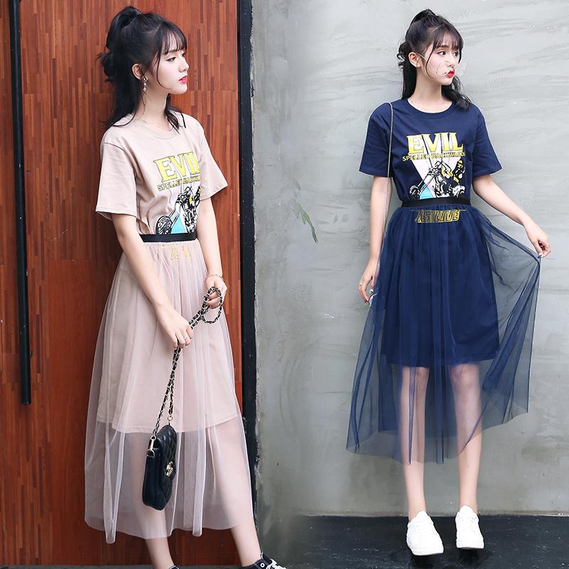 15夏装大童12-14少女孩13初中学生16岁T恤网纱裙两件套连衣裙潮