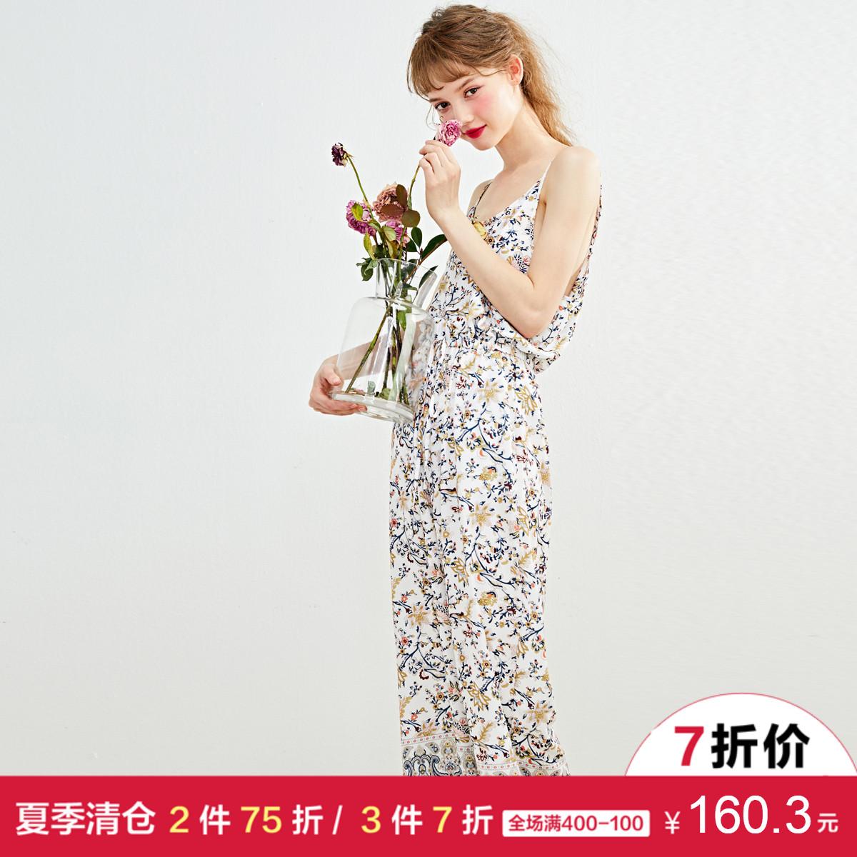 [3件7折]乐町春女吊带阔腿裤长裤雪纺碎花连体裤女裤休闲裤