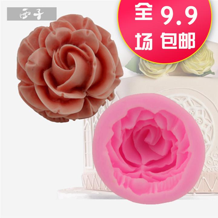 新款立體3d玫瑰花翻糖蛋糕模烘焙硅膠diy巧克力模具烘焙模具