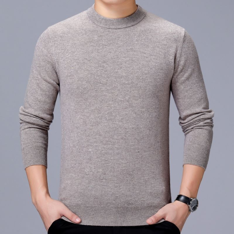 New round neck sweater mens pure cashmere sweater sheep sweater mens pure color fashion high-end with coat Long Sleeve