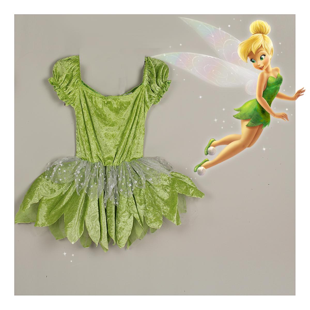 特特特价儿童女孩全丝绒绿色奇妙仙子小叮当花仙子精灵裙扮演包邮