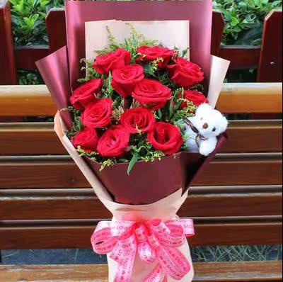 11朵19朵33朵红玫瑰鲜花速递重庆市万州区涪陵区同城花店送花上门