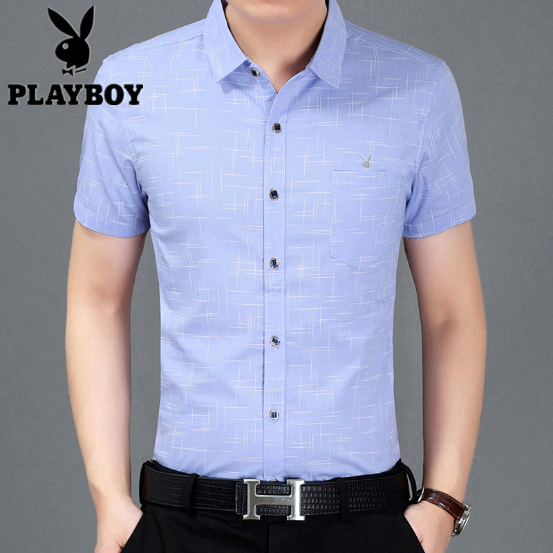 Summer new Playboy Plaid short sleeve shirt mens mercerized cotton lining casual Korean half sleeve fashion