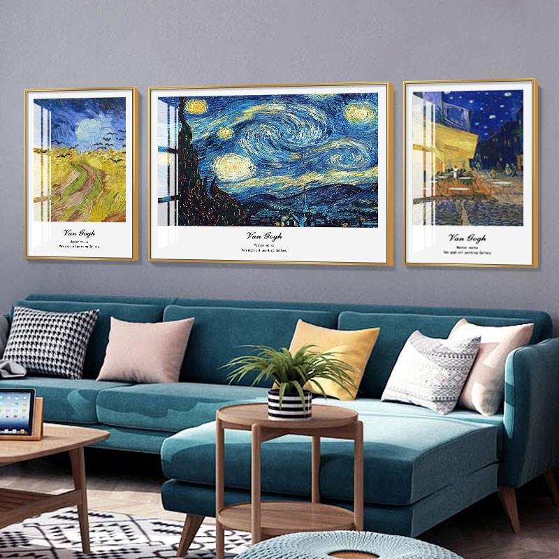 致爱梵高名画油画挂画艺术客厅装饰画丰收向日葵沙发背景墙三联画