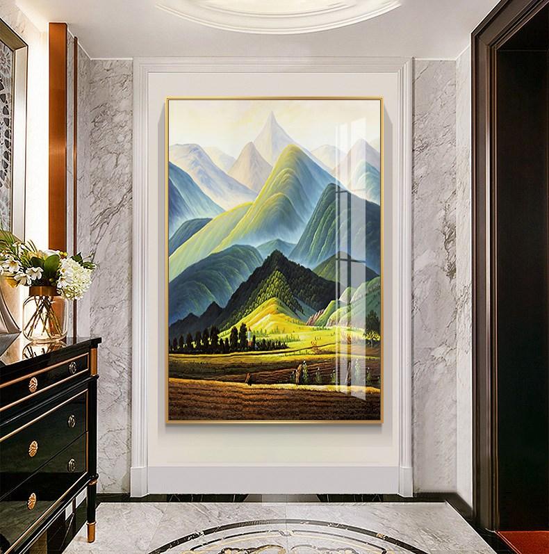 巨人山世界名画玄关装饰画山川风景油画挂画艺术小幅走廊尽头壁画
