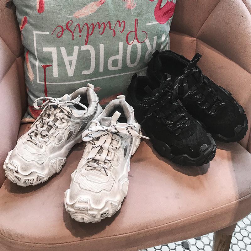 脏脏老爹鞋女网红真皮2020春新款厚底超火复古做旧休闲休闲单鞋