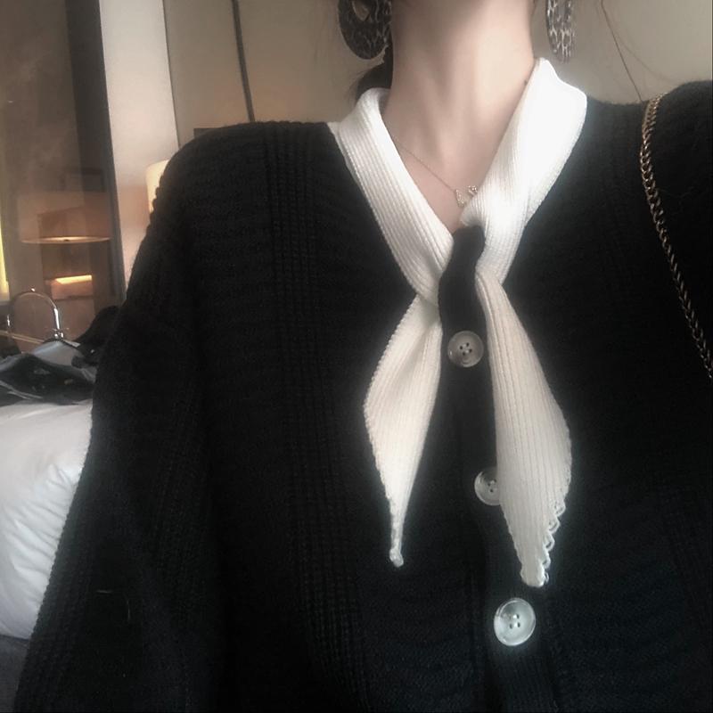 仙女装黑色法式针织2019流行新款连衣裙子女秋冬款季时尚复古穿搭
