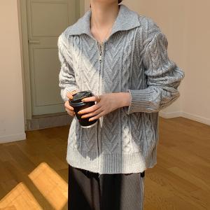 實拍#2021東大門新款拉鏈毛衣polo領麻花開衫外套女時尚港味潮