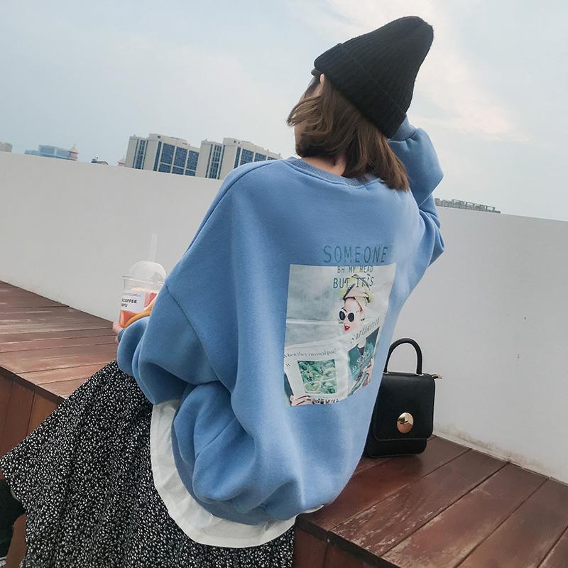 实价实拍已检测韩版宽松英文字母背后印花休闲假两件卫衣女