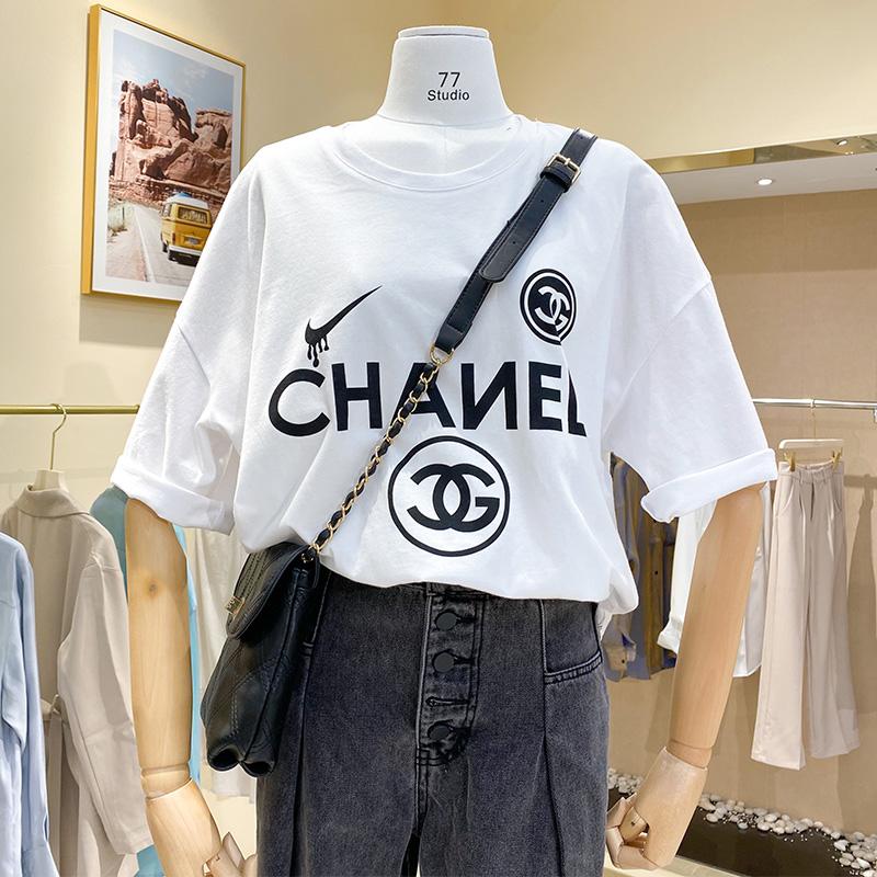 實拍現貨#2020春夏新款韓版女裝休閑短袖寬松字母印花磨毛T恤