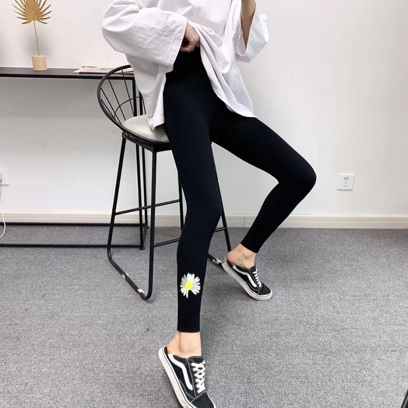 小雏菊打底裤女外穿春秋螺纹2020新款九分灰色裤子刺绣紧身小脚裤