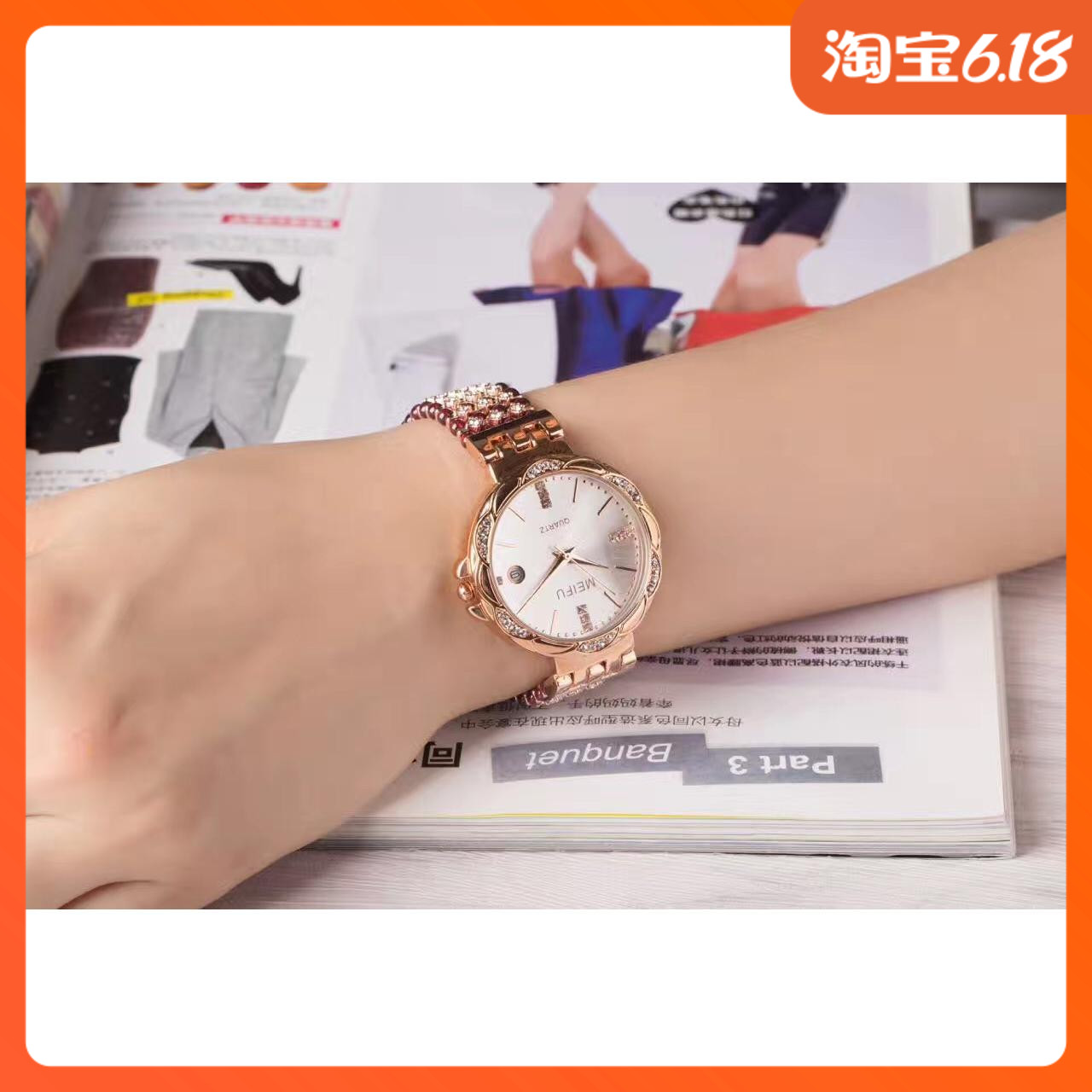 Natural garnet deep waterproof calendar watch health beauty beauty beauty pure handmade girls birthday gift