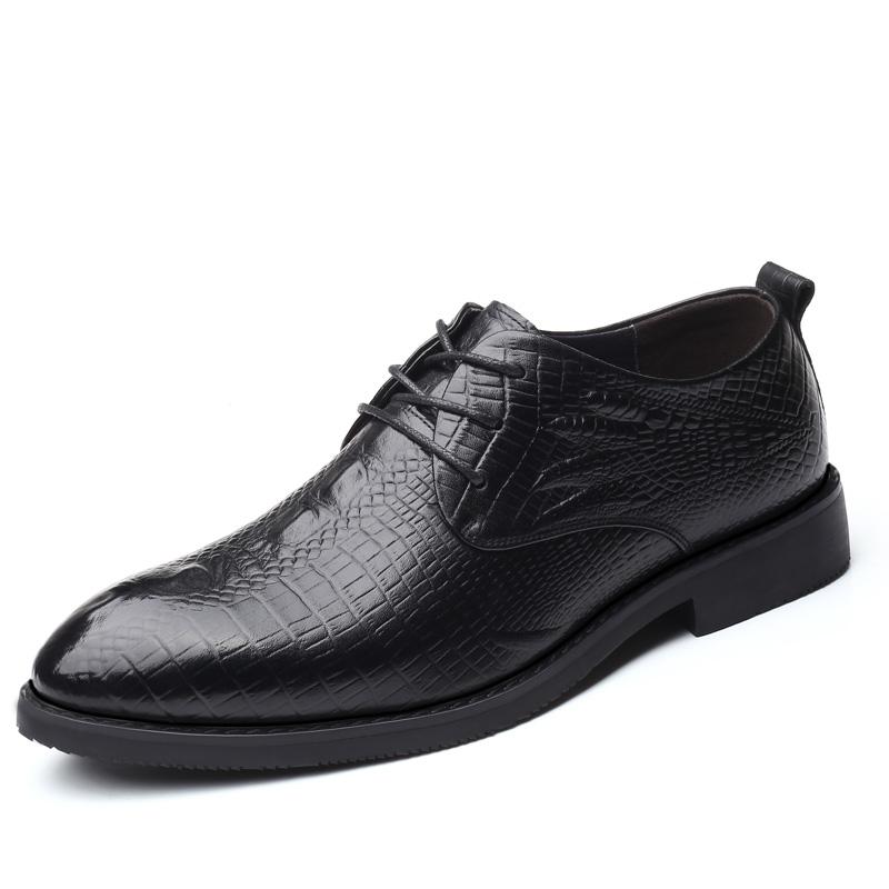 皮鞋男商务德比鞋高档鳄鱼纹真皮正装男士韩版潮流尖头新郎结婚鞋