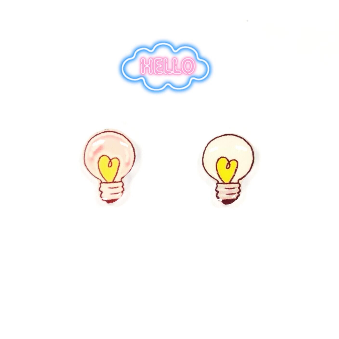 Creative design interesting girl love heart love light bulb lovely Sterling Silver Earrings personalized student gift ear clip