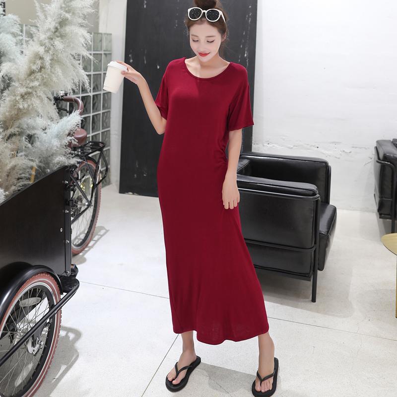 夏季韩版莫代尔短袖长裙宽松连衣裙女百搭秋装圆领长款打底裙大码