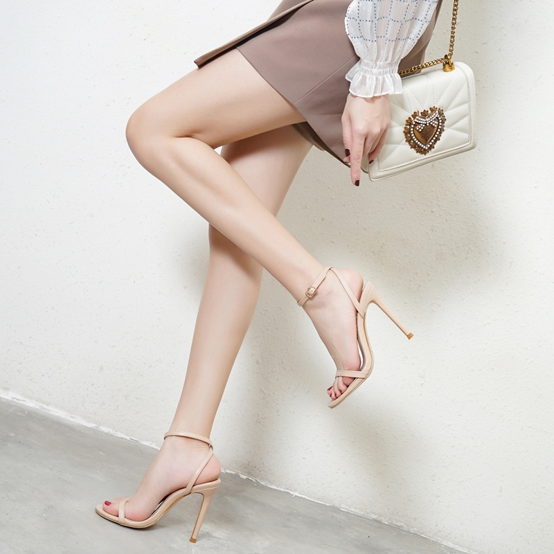 European and American summer open toe high-heeled womens shoes with back trip strap sandals