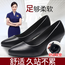 Comfortable real leather shoes, thin heels, spring and autumn single shoes, tooling shoes, professional stewardess shoes, working shoes, women's black formal high heels