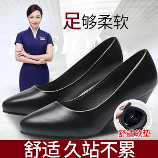 细跟春秋单鞋 女黑色正装 舒适真皮鞋 职业空姐鞋 工装 高跟鞋 鞋 工作鞋