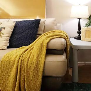 北欧经典 菱形纯色针织毯沙发毯民宿床尾巾床尾毯样板房搭毯盖毯