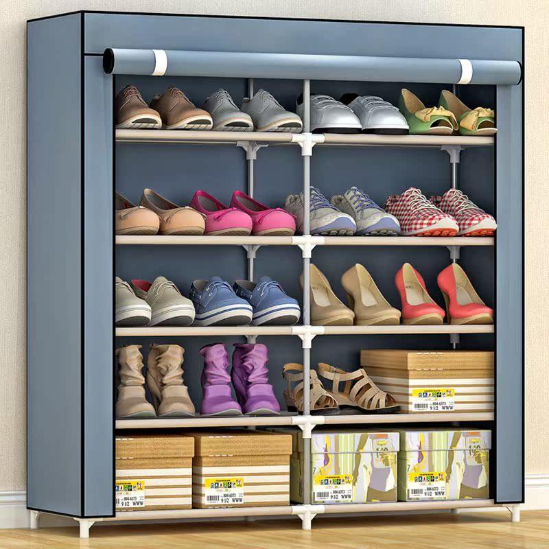 【住宅家具】5层简易双排鞋柜 防尘防潮双排鞋架靴子柜