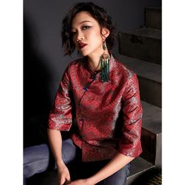 扶郎/2020。小众设计师原创女装 改良中国风复古提花旗袍唐装上衣图片