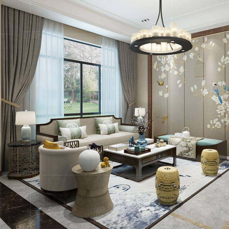 新中式实木沙发组合现代简约禅意客厅布艺沙发中国风别墅整装家具