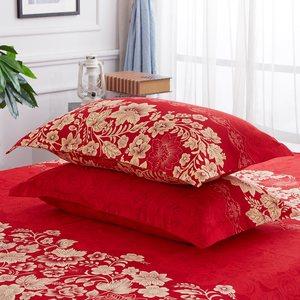 纯棉枕套单双人结婚庆大红色情侣枕头枕芯套48x74一对两只装包邮