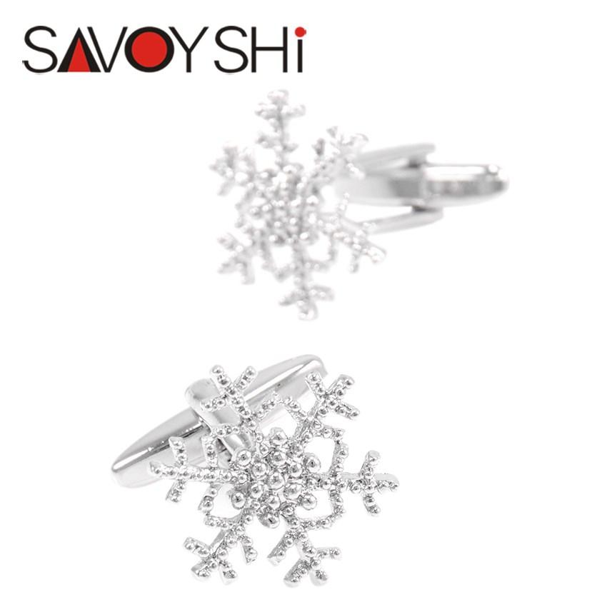 高档银色金属简约雪花片袖扣女士衬衣袖口男士法式袖钉圣诞节礼物