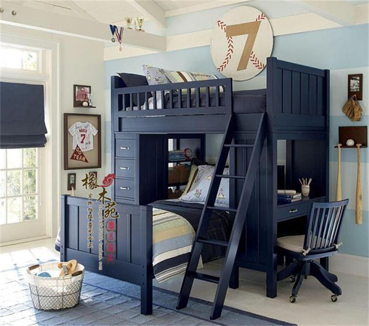 实木高低子母床儿童交错双层上下铺小户型多功能带学习桌书架抽屉