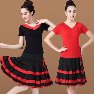 广场舞服装新款套装短袖上衣短裙舞蹈演出服两件套大妈跳舞衣服女