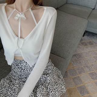 夏季新款薄款针织防晒衫上衣 内搭吊带 褶皱高腰包臀半身裙套装女