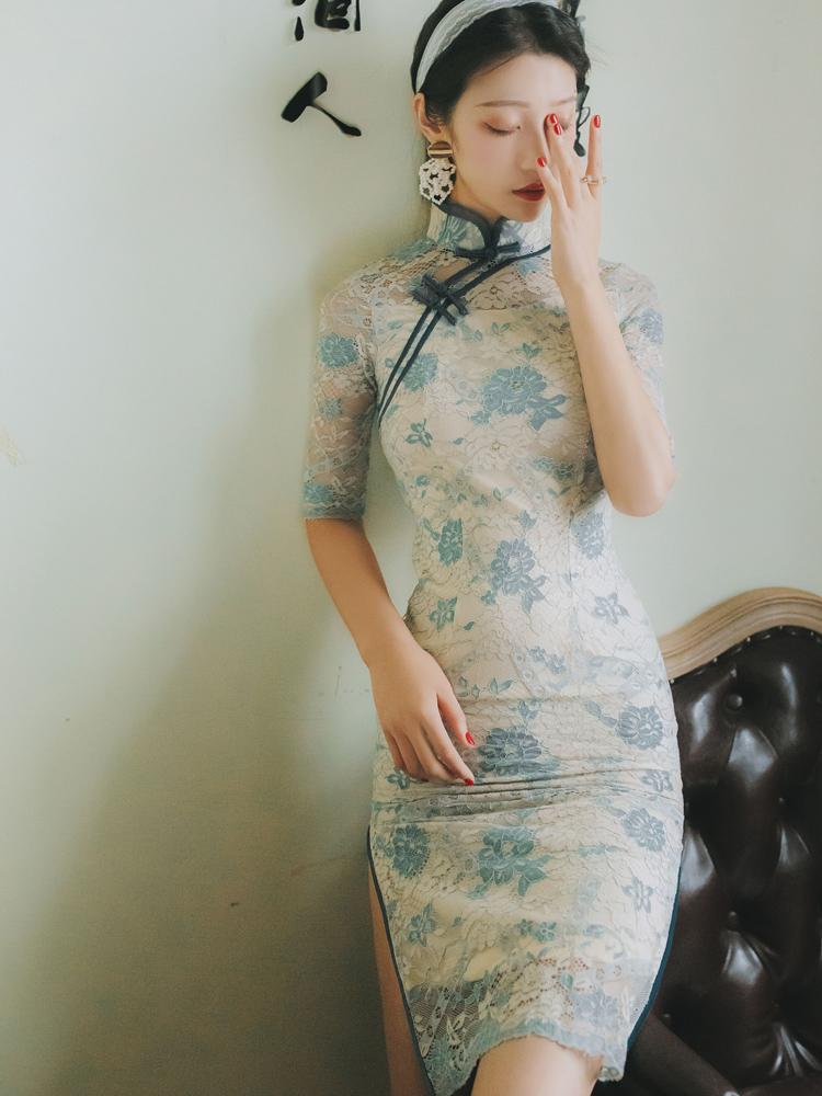 改良中长款旗袍连衣裙2018新款少女春季复古优雅镂空蕾丝旗袍