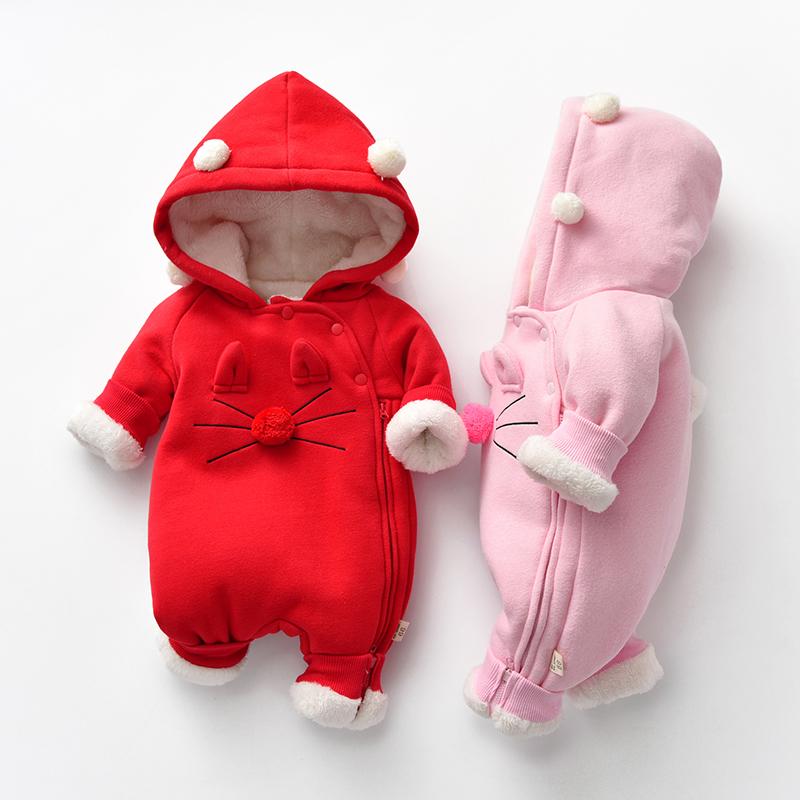 婴儿秋装连体衣服新生幼儿加绒哈衣