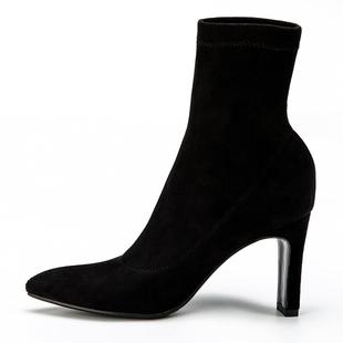 2020新款尖頭高跟短靴女配裙子穿的靴子ins網紅瘦瘦靴彈力靴襪靴