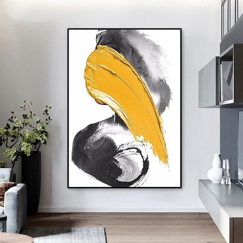 黃色色塊玄關過道連廊掛畫手繪油畫現代簡約抽象藝術裝飾畫