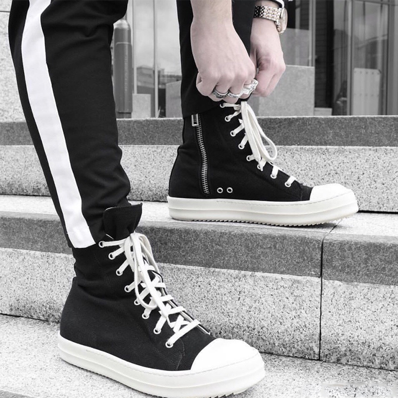 ro高�托�男�W美潮牌真皮厚底加�q帆布鞋系�Ы诸^情�H板鞋女短靴子
