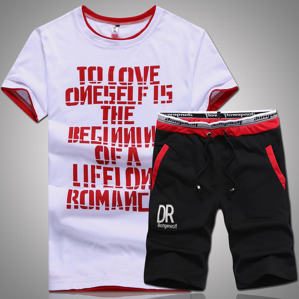 男士运动套装夏季圆领休闲春秋跑步服健身服男夏天青年短袖两件套