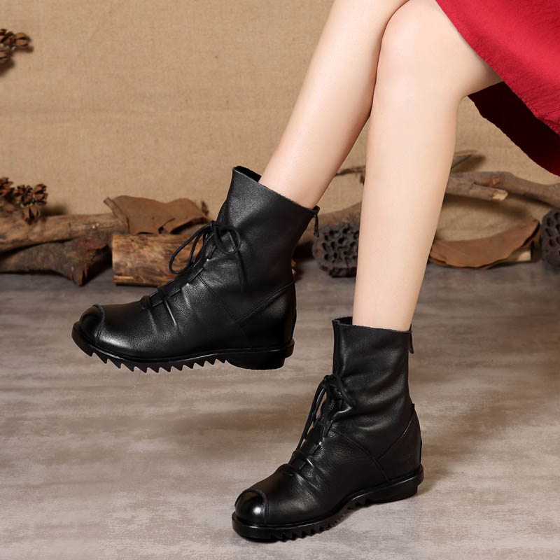 Leather Soft-soled Shoe Spring and Autumn Single Boot Back Zipper Heightening Female Boots Fall and Winter 2019 Slip-proof Female Cotton Boots