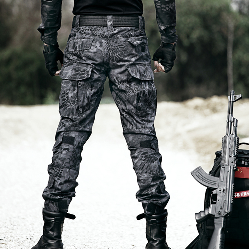 Outdoor Python camouflage pants for mens special forces training pants, slim wear-resistant military pants, combat overalls, legging tactical pants