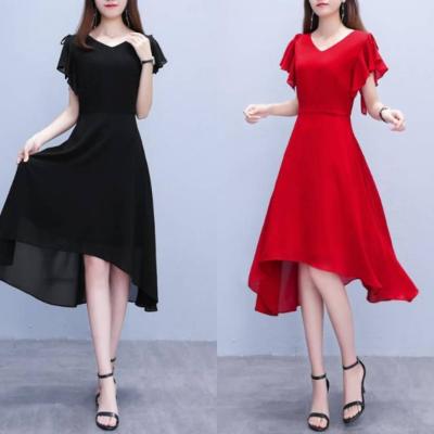 2021夏季新款大码女装胖妹妹洋气遮肚显瘦雪纺连衣裙过膝黑色裙子