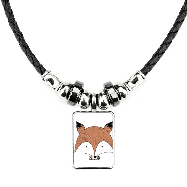 Simple style fox illustration pattern handmade leather rope necklace pendant
