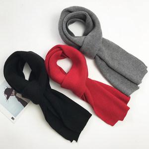 韩版东大门黑色针织毛线短款小围巾男女情侣冬灰色保暖大红色围脖