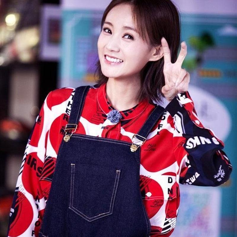 爱我就别想太多李一桐夏可可同款衣服女韩版春季复古红色印花衬衫