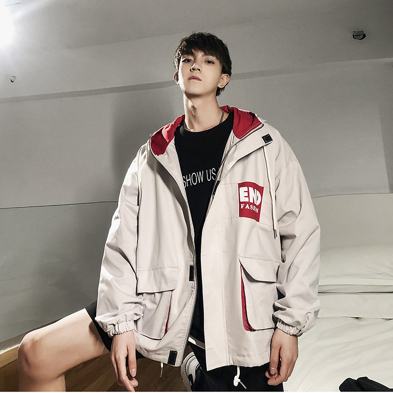 Perth mens jacket 2020 spring new hooded loose pocket work clothes Korean youth jacket fashion