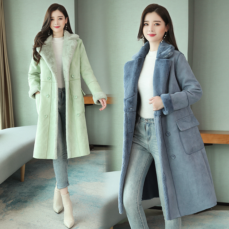 2020 popular cashmere overcoat womens middle and long winter thickened Korean thickened warm and slim waist over knee cotton padded jacket