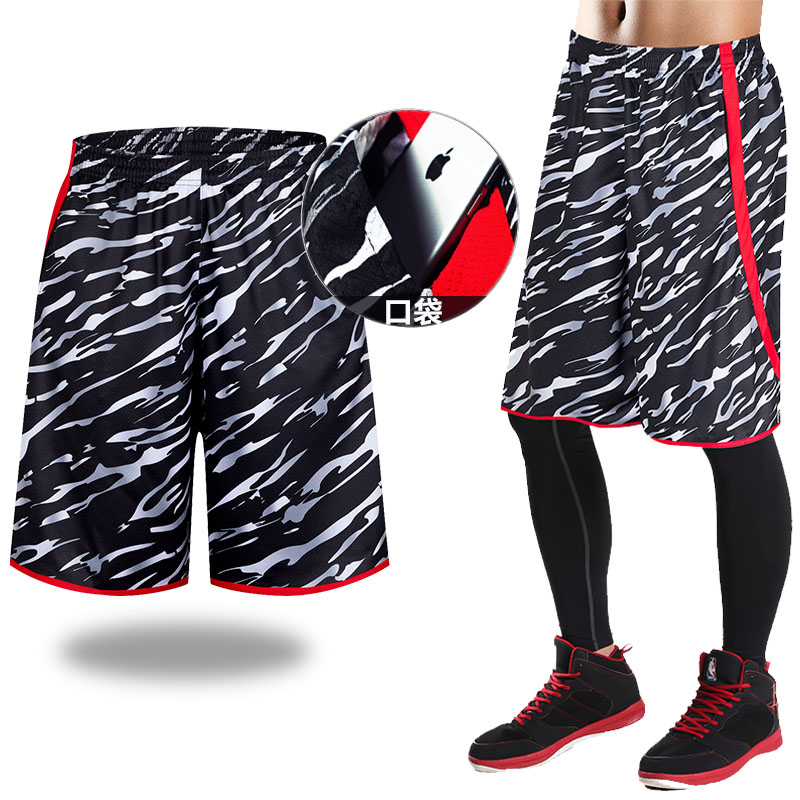 Sports shorts mens running loose basketball pants fitness suit breathable pants summer quick drying large camouflage shorts